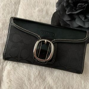 Coach signature fabric/ black leather wallet